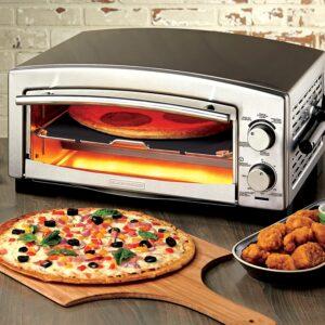 Four à pizza électrique transportable gris métallique avec pizza devant