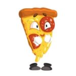 Part de pizza en dessin qui montre sentiment d'amour