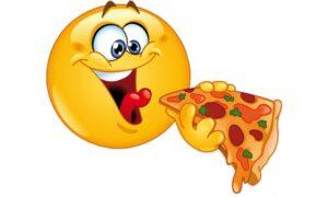 Dessin de smiley qui déguste une part de pizza